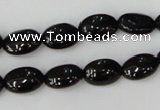 CTO123 15.5 inches 8*12mm oval black tourmaline beads