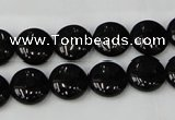 CTO128 15.5 inches 12mm flat round black tourmaline beads