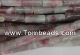 CTO239 15.5 inches 4*10mm tube pink tourmaline gemstone beads