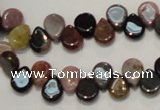 CTO38 15.5 inches 7*10mm flat teardrop natural tourmaline beads