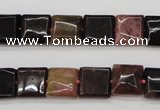 CTO387 15.5 inches 10*10mm square natural tourmaline beads wholesale
