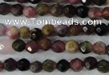 CTO460 15.5 inches 4mm faceted round natural tourmaline gemstone beads