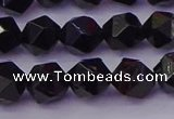 CTO646 15.5 inches 8mm faceted nuggets black tourmaline beads