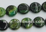 CTP08 15.5 inches 14mm flat round yellow green pine gemstone beads