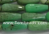 CTR113 15.5 inches 8*20mm faceted teardrop grass agate beads