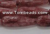 CTR135 15.5 inches 10*30mm faceted teardrop strawberry quartz beads