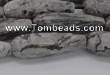 CTR139 15.5 inches 10*30mm faceted teardrop grey picture jasper beads