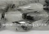 CTR155 15.5 inches 6*16mm faceted teardrop black rutilated quartz beads