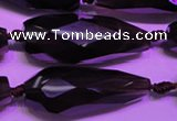 CTR206 15*34mm - 20*42mm faceted teardrop smoky quartz beads