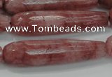 CTR58 15.5 inches 10*40mm faceted teardrop strawberry quartz beads