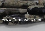 CTR60 15.5 inches 10*40mm faceted teardrop grey opal gemstone beads