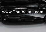 CTR64 15.5 inches 10*40mm faceted teardrop black agate beads
