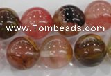 CTS07 15.5 inches 16mm round tigerskin glass beads wholesale