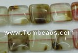 CTS52 15.5 inches 15*15mm square tigerskin glass beads wholesale