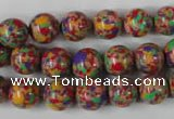 CTU1053 15.5 inches 10mm round synthetic turquoise beads wholesale