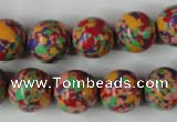CTU1055 15.5 inches 14mm round synthetic turquoise beads wholesale