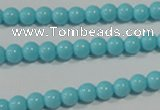 CTU1210 15.5 inches 4mm round synthetic turquoise beads