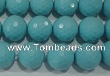 CTU1223 15.5 inches 10mm faceted round synthetic turquoise beads