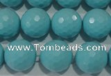 CTU1225 15.5 inches 14mm faceted round synthetic turquoise beads