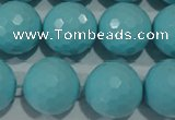 CTU1227 15.5 inches 18mm faceted round synthetic turquoise beads