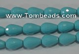 CTU1245 15.5 inches 8*12mm faceted teardrop synthetic turquoise beads
