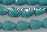 CTU1247 15.5 inches 10*15mm faceted teardrop synthetic turquoise beads