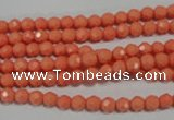 CTU1320 15.5 inches 3mm faceted round synthetic turquoise beads