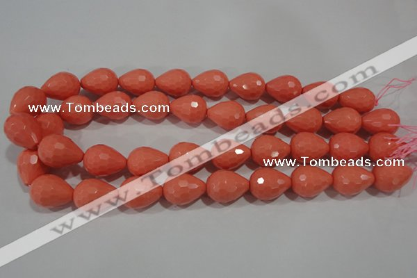 CTU1362 15.5 inches 13*18mm faceted teardrop synthetic turquoise beads