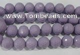 CTU1410 15.5 inches 4mm faceted round synthetic turquoise beads