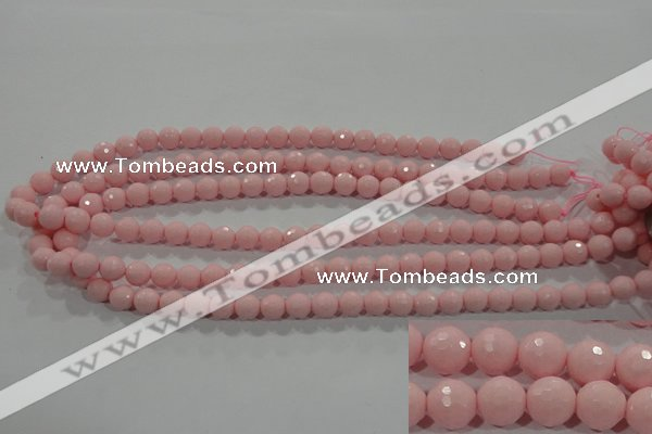 CTU1513 15.5 inches 8mm faceted round synthetic turquoise beads
