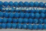 CTU1631 15.5 inches 6mm faceted round synthetic turquoise beads