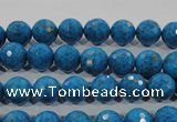 CTU1632 15.5 inches 8mm faceted round synthetic turquoise beads