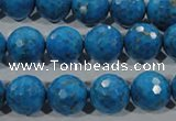 CTU1636 15.5 inches 16mm faceted round synthetic turquoise beads