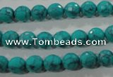 CTU1683 15.5 inches 8mm faceted round synthetic turquoise beads
