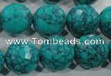 CTU1688 15.5 inches 18mm faceted round synthetic turquoise beads