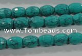 CTU1720 15.5 inches 8*10mm faceted rice synthetic turquoise beads