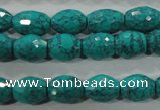 CTU1721 15.5 inches 10*14mm faceted rice synthetic turquoise beads