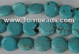 CTU1882 15.5 inches 12mm flat round imitation turquoise beads