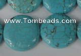 CTU1888 15.5 inches 25mm flat round imitation turquoise beads
