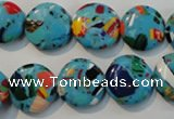 CTU2014 15.5 inches 14mm flat round synthetic turquoise beads