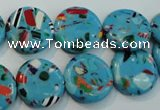 CTU2015 15.5 inches 16mm flat round synthetic turquoise beads