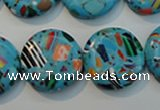 CTU2016 15.5 inches 18mm flat round synthetic turquoise beads