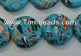 CTU2017 15.5 inches 20mm flat round synthetic turquoise beads