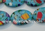 CTU2023 15.5 inches 18*25mm oval synthetic turquoise beads