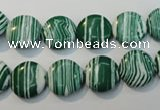 CTU2051 15.5 inches 10mm flat round synthetic turquoise beads