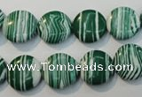 CTU2053 15.5 inches 14mm flat round synthetic turquoise beads