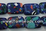 CTU2098 15.5 inches 13*18mm rectangle synthetic turquoise beads