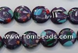 CTU2121 15.5 inches 10mm flat round synthetic turquoise beads