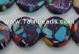 CTU2126 15.5 inches 20mm flat round synthetic turquoise beads