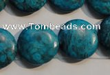 CTU2421 15.5 inches 20mm flat round synthetic turquoise beads